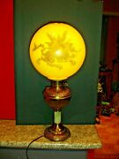 Antique Lamp Oil Style W/huge Yellow Cased Glass Lamp Shade W/dragon