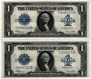 2 1923 1 One Dollar Consecutive Silver Certificates Amazing