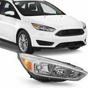 Right Passenger Rh Side For 15-18 Ford Focus Chrome Headlight Replacement Lamp