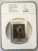 Ngc Pf70 France 2021 Girl With A Pearl Earring Rectangle Silver Coin S250e 500g