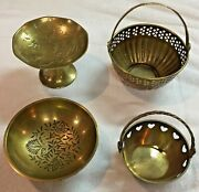 4 Brass Pieces 1 Dragon Compote China + 2 Baskets Hinged Handles + Bowl India