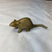 Vintage Solid Brass Carved Armadillo Banded Paperweight Figurine Statue About 5