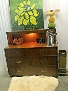 Dixie Campaigner Lighted Bar Chest Of Drawers Campaign Dresser Mcm