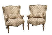 Pair Of Aico By Michael Amini Villa Valencia Wing Chairs In Classic Chestnut