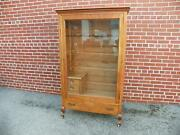 Scarce Antique Factory Made Oak Gun Cabinet With Raised Panels