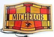 Vintage Michelob Draught Beer Bar Sign Stained Glass Style Advertising Liquor