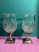 Pair Waterford Crystal Hurricane Lamp W/metal Base Times Square Collection 2001