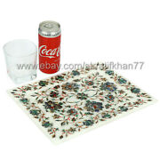 Marble Inlay Serving Tray Rectangular Floral Design Home Decorative Platter