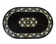 4and039x2and039 Black Marble Table Top Coffee Pietra Dura Inlay Lapis Room Decor L2