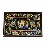 3and039x2and039 Black Marble Table Top Center Bird Pietra Dura Inlay Room Antique L2