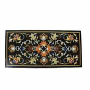 3and039x2and039 Black Marble Table Top Center Bird Pietra Dura Inlay Room Antique L3
