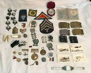 Huge Lot Usn Usmc Us Army Military Wwii Korea Vietnam Medals Patches Buckles ++