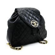 Caviar Backpack Chain Bag Black Leather Flap Gold Hardware D04