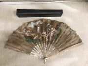 Antique Early 20 French Silk Hand Painted Hand Fan Pearl Stick With Original Box