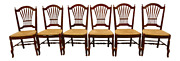 Ethan Allen French Country Style Wheat Back Rush Seat Dining Chairs - Set Of 6