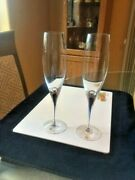 Orrefors Blue Entermezzo Champagne Flutes A Pair To Shed The Blues Never Used