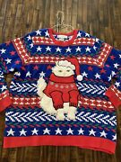 Jolly Sweaters Ugly Christmas Sweater Size Xxl Santa Cat Plays Music