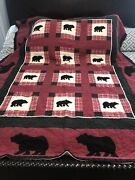 """Vintage Woolrich Home Bear Plaid Quilt Twin Blanket Cabin Rustic 60x83"""""""