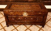 Chinese/asian Hand Carved Antique Wooden Chest/trunkandnbspin. 34.5andrdquo Long 19andrdquo Height