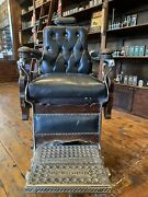 """Antique Oak 1910 """"hercules"""" Barber Chair Restored Ready To Be Put To Work"""