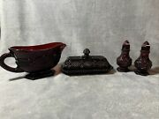Vtg Avon Cape Cod Collection Ruby Red Glass Butter Dish Gravy Boat Salt And Pepper