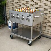 New 30 Stainless Steel Portable Liquid Propane Outdoor Grill With Wheels