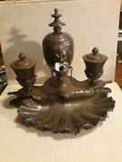 Rare Bronze Egyptian Revival Inkwell Signed Ad Auguste Delafontaine Original