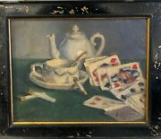Painting Maurice Larue 1861-1935 Still Life The Cards And The Cigarette