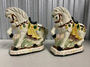 Vintage Chinese Pair Of Ceramic Horse Figurines Chinoiserie