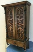 Huge Antique French Cabinet Furniture Early 1900's Woodwork Henri Ii Style 25lb