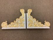 """Pr Lg 23"""" Carved Thick Wood Wall Brackets Gold White Gilt Corbels C1900 Antique"""