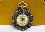 Antique Apex Silver And Blue Enamel Diamond Ruby Wind Up Pocket Watch Estate