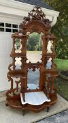 Victorian Walnut Marble Top Etagere