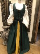 Medieval Renascence Dress/wench Peasant With Accessories