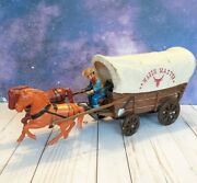 Vintage 60's Modern Toys Battery Operated Horse Wagon Master Tin Working Western