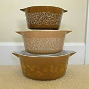 Lot Of 3 Pyrex Casseroles Woodland And Federal Gold Eagle Brown Round 475,474,473