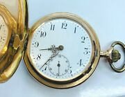 Antique Swiss 14k Rose Gold Hunters Case Pocket Watch With Porcelain Dial