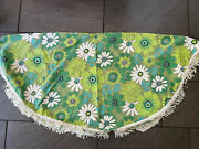 Vintage Floral Green White 70s Round Table Cloth With Fringe 60 Diameter