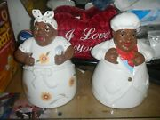 2 Black Americana Chefs Cooks Ack Cookie Jars Canisters Large 12 Inches Tall See
