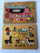 Vintage Fisher Price Wood Wooden Peg Puzzles Barn 501 Farm Animals 507