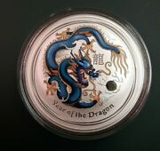 2012 Australia 1 Oz 999 Silver Year Of The Dragon Coin Colorized Blue And Yellow