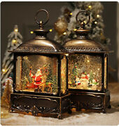 Santa Claus Music Box Christmas Props Snowman House Party Decor Crystal Lamp Toy