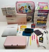 Huge Nintendo 3ds Xl Pink White Lot 21 Games Case Box Charger Excellent Works