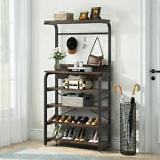 3 In 1 Design Hall Tree With Storage Coat Rack Shoe Bench With Shelves And 8 Hooks