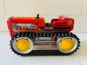 Antique 1950and039s Marx Toys Usa Tin Litho Tractor Wind-up Toy Red Diesel 12w/ Key