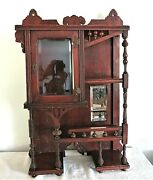 Antique Stick Ball And Spool Victorian Style Wall Display/curio Cabinet