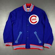 100 Authentic Chicago Cubs Mitchell Ness Wool Jacket Size 40 M Mens