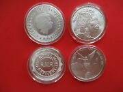 Mixed Lot Of 4 1oz. Fine Silver Coins And Rounds Bu W/capsules