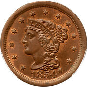 1854 N-1 Pcgs Ms 64 Bn Cac Braided Hair Large Cent Coin 1c