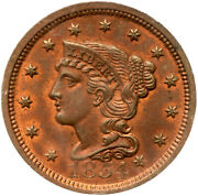 1854 N-3 Pcgs Ms 64 Rb Braided Hair Large Cent Coin 1c